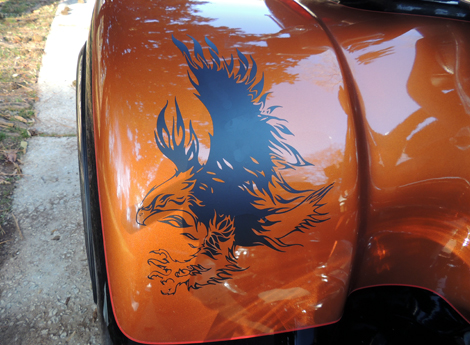 Flaming Eagle Trike Fender Decal Sticker